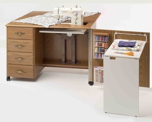Fashion Cabinets, Roberts 4600 Maximum Storage, Limited Space Sewing Credenza w/ Electric Lift, Drawer Glide