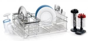 Polder, KTH-500, Expandable, Modular, Dish Rack, Brushed stainless steel, Dual post, Glass washer, Wire plate, & Cup holders, Cutlery holder, & Drain tray