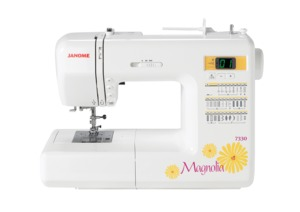 Janome 7330, Magnolia, 30 Stitch, Computer, Sewing Machine, 6 Buttonholes, START STOP, Memory Needle Up Down, Speed Limit Cont, Threader, 20/5,Yr Ext. Wnty