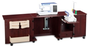 "Sylvia Design 1050 Sewing Machine Air Lift Platform 12.5x24"" Opening,  & Serger Dual Cabinets Center (810 & 500) - 83 3/4""W x 19 7/8""D x 29 3/4""H"