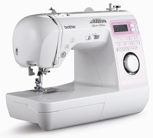 Brother Innovis, NS 40 Stitch, babylock grace, Project RUNWAY Computer, LCD Sewing Machine, 1 Step Buttonholes, Needle Threader, Top Drop In, Quick Set Bobbin, Drop Feed Control, Speed Limit Control, 14 Pounds, $20 REBATE