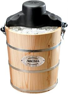 Aroma, AIC-204EM, 4-Quart, Traditional, Solid Pine, Wooden Bucket, Ice Cream Maker, Machine, Hand, & Electric Crank, Recipe Book, Aluminum Canister, to Freeze