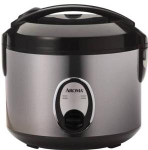 Aroma ARC-914SBBB 4 Cup Cool touch Stainless Steel Rice Cooker - Brushed Chrome/Black Lid