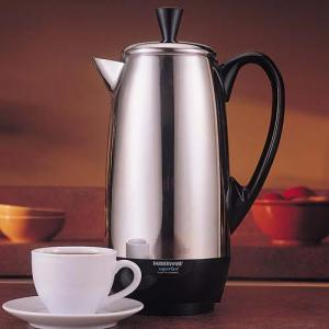 Farberware, FCP412, 4 to 12 Cup, Stainless Steel, Coffee Maker, Percolator Pot, One Cup, Per Minute, 1000W, Cool Handle, Cover Knob, Detachable, Power Cord