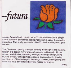 Jennys Sewing Studio Futura Software Lessons, for XL400 Quartet Embroidery Machine, or CE100 CE150 CE200 CE250 CE350 with Upgraded  Software