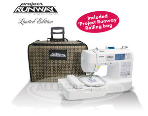 Brother, LB6800PRW, grand slam, Project Runway, Roll,Bag,  Computer, 67 Stitch, Sew, 4x4, Embroidery Machine, 4 Downloads* USB Cable, 70 Designs, 5 Fonts, 10 BH, Thread  Trim, 8 Feet, ONLINE