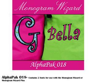 Monogram Wizard Alpha Pak 18 Fonts CD for Needleheads Monogram Wizard Plus Custom Alphabet Lettering Embroidery Machine Software ONLY