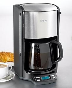 Krups, FME4-14, 12 Cup, Glass Carafe, Programmable Timer, Coffeemaker, 1100W, 60oz, LED Panel, Pause, & Serve, 1-3 Cup, Flavor Set, Black & Stainless Steel