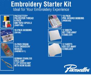 Brother, Embroidery Machine, Starter Kit, SAEPKIT1, 6 Poly Threads, Snips, 10 SA156Bobbins, 10 Needles, Stablizers, 12 of 9x7&quot; Tearaway, 12 of 6x6&quot; Cutaway