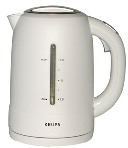 "Krups, FLF2, Kettle, 6x9x9"", White, Cordless, 360 Swivel Base, 1750W, 54oz, Water Gauges, Lime Scale Filter, On Off, Auto Off, Cool Touch Handle, Lock Lid"