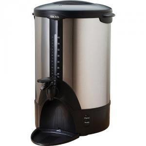 Aroma, ACU-140S, 40-Cup, Stainless, Steel, Coffee, Urn, Removeable, Dip, Tray, Lock-On Lid, Water Level Indicator