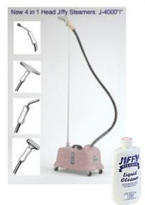 "Jiffy PINK Heavy Duty Model J-4000i Commercial All-purpose Steamer Cleaner with 4 Changeable Steam Heads and 5.5 Foot Hose Attachment, Jiffy PINK J-4000i FREE Ship & Cleaner, Commercial Fabric Steamer J4000i 4Changeable Heads, 1"" Brush, 6"" Metal, 9"" Pipe, 12"" Carpet, 1Handle, 5.5'HOSE"