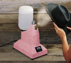Jiffy, J-1, PINK, Original Hat, and Cap, Steamer, with 2.5&quot;, Short Metal, Steam Nozzel, on Wood Handle, 1300 Watts, J1, Made in USA, Helps Block, Clean, Freshen, Remove Odors, &amp; Wrinkles, 2 Minute Heat Up