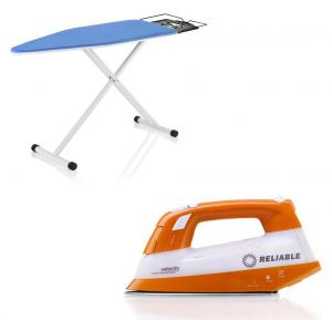 Reliable, Velocity, V50 Steam, Generator Iron, &amp; C30 The Board, Ironing, &amp; Pressing, Folding Table, 19x47&quot; inch, Galvinized Metal Mesh Screen, Iron Rest - ITALY