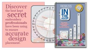 Designs In Machine Embroidery ITH0010 In the Hoop Tool kit, Template, Target Sticker, Angle Finder shows degrees needed to rotate  design on machine