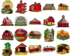 OESD 11107 Bridges and Barns Embroidery CD Design Pack