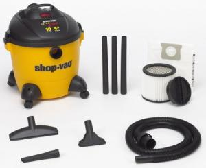 Shop Vac 001-9621000 10 Gallon Wet/Dry Ultra Plus Series 4HP Motor, 10 Gallon Tank, 173 CFM, 12' Cord, 310 Air Watts, 59&quot;SP, 120V - 60Hz, Gulper Nozzle, Combination Nozzle, Squeegee, Crevice Tool, Cartridge Filter, 25lbs