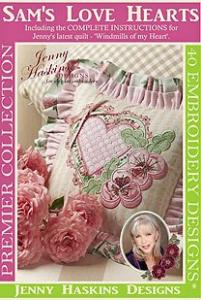 Jenny Haskins 56/2649  Sams Love Hearts 40 Romantic Embroidery Quilting Appliques &amp; Buttonhole Designs on Multi-Formatted CD