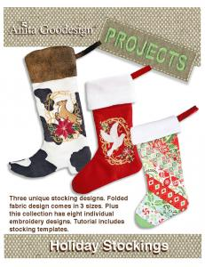 Anita Goodesign PROJ02  Holiday Stockings Embroidery Design Pack on CD