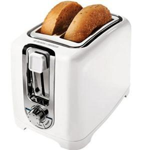 Black and Decker TR1256W  2 Slice Toaster, 850 Watts of Cooking Power, LED Indicator, Function Indicator Light, Cool Touch Housing, Defrost, Function