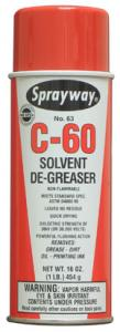 Sprayway C-60 Quick Drying Solvent Degreaser, 16oz Cans 12/Case for Cleaning Sewing Machine Metal Parts and Motors while Running, but not on Plastic