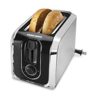 Black and Decker TR1200SB 2 Slice Toaster, Reheat, Toast, Bagel, Crumb Tray, Stainless Steel/Black