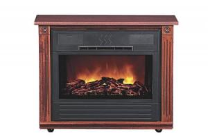 Heat Surge HS-RG3R FS Amish Crafted Roll-N-Glow Electric Space Heater Fireplace CHERRY, 1500W 4600BTU CasterRollers Fireless Flame Assembled, Serviced
