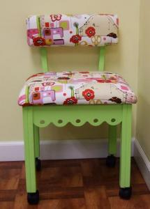 Arrow 4004 Gingerbread Sewing Chair GREEN, Alexander Henry Fabric, Notions Motif, 4Casters, LumbarSupport 30&quot;Height, OakWoodLegs 20&quot;Seat 16x18&quot;Cushion