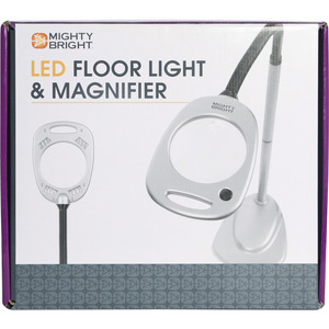 GREY/BLACK-MIGHTY BRIGHT FLOOR, Mighty Bright, MB67112, Magnifier, Floor, Standing, Lamp, Light, 12 LED, Bulbs
