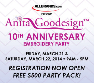 "event party class meeting Anita Goodesigns 2Day ""Its A Party"" Embroidery Applique, Lace, Cutwork, In The Hoop Quilting, Friday and Saturday, March 21-22, Baton Rouge"