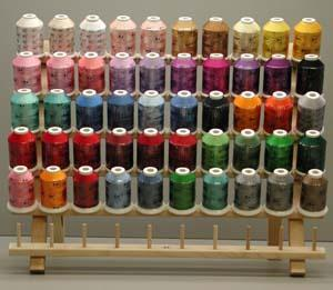 Robison Anton Most Popular 50 Color Spools of 1100 YDS Polyester or Rayon  Machine Embroidery Thread Kit & Wood Rack